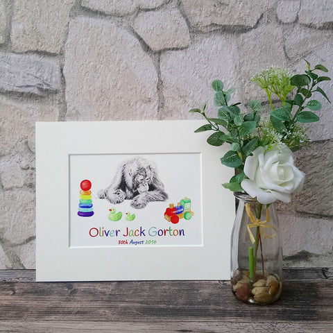 Personalised Orangutan Giclee Art Print for Baby Boy - Bella & Bryn