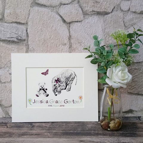 Personalised Elephant Giclee Art Print for Baby Girl - Bella & Bryn