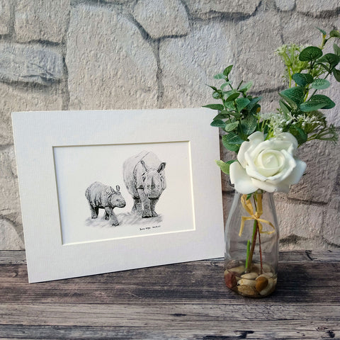 Rhino and Baby Giclee Art Print - Bella & Bryn