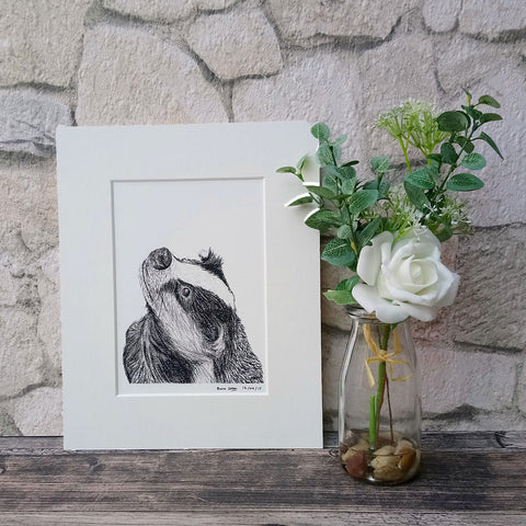Ben The Badger Giclee Art Print - Bella & Bryn