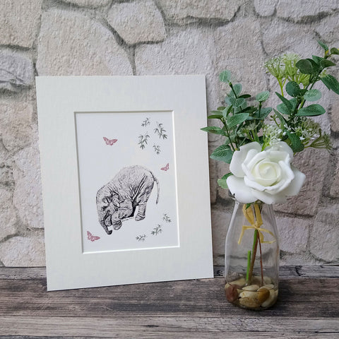 Elephant and Butterfly Giclee Art Print - Bella & Bryn