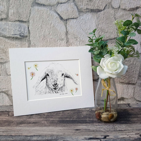Lamb and Daisy Giclee Art Print - Bella & Bryn