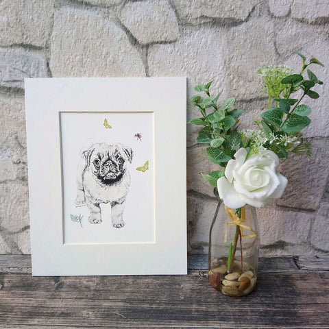 Pug and Butterfly Giclee Art Print - Bella & Bryn