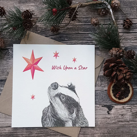 """Wish Upon a Star"" Badger Christmas Card - Bella & Bryn"