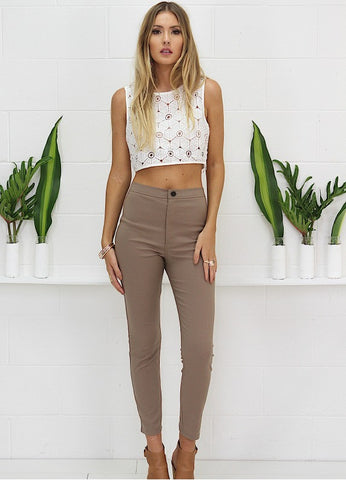 Dion Cropped Pants - Taupe
