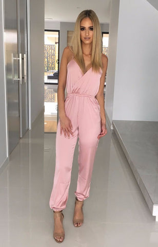 Miami Silk Jumpsuit - Blush