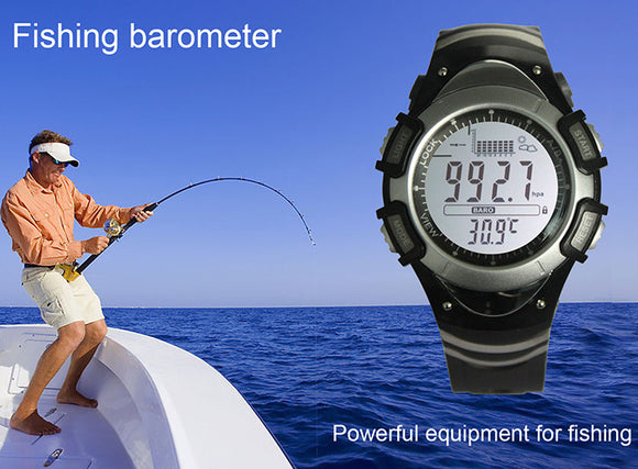 PRO Tour Fishing LCD Watch w/ Backlight - Barometer, Altimeter, Thermometer, Weather Forecast & More; All-in One! - Thirsty Buyer - 1