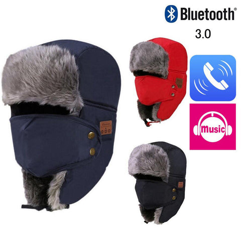 "Ice Cold Winter's Bluetooth ""Talk & Listen"" Fur Hat w/ Face Shield - NEW"