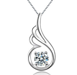 Women's Silver GO WINGS Crystal Pendant Necklace - Thirsty Buyer