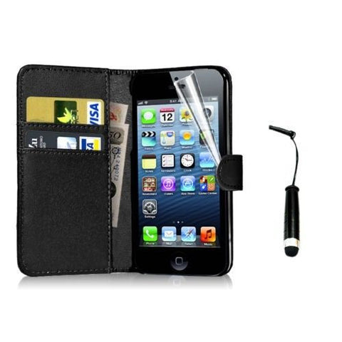 iPhone 4 5 6 Leather Wallet Case Cover w/ Free Screen Protector - Assorted Colors - Thirsty Buyer - 2