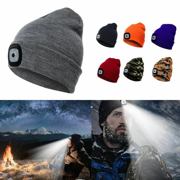 Ice Fishing Winter Toque w/ Built-in Bright LED Light - Handsfree Lighting!
