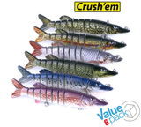 "8-Jointed ""Life like"" Crush'em Fishing Lures - Value 6 pack"
