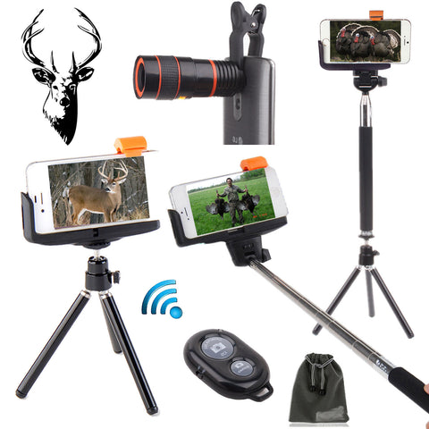 "Precision Optical's ""Hunting Edition"" Smartphone Telescopic Scope w/ Pro Tripod Stand Film Package - Includes Wireless Remote"