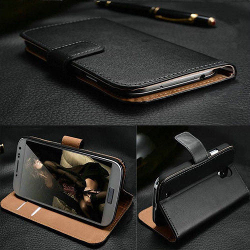 Luxury Genuine Black Leather Flip Case Wallet Cover for Samsung Galaxy Models - Thirsty Buyer - 1