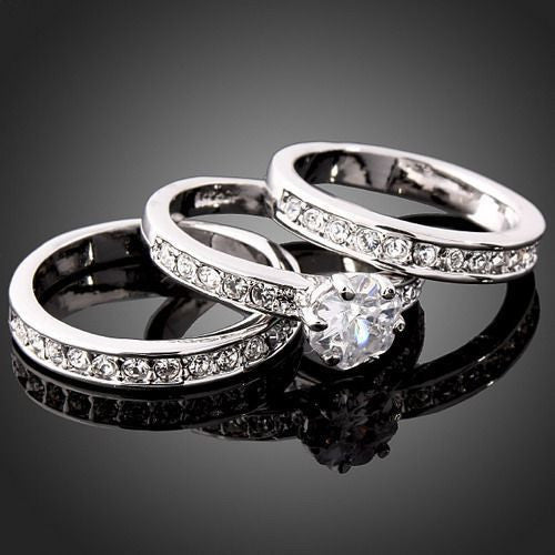 Women's White Gold Wedding Bands(2) & Engagement Ring - Thirsty Steal! -  - 1