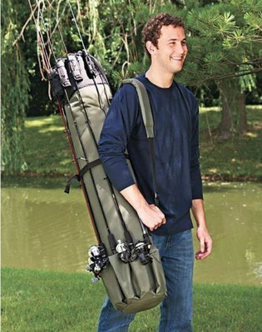 """Bass'n Bill's"" 5-Rod Fishing Carrying Bag w/ Loads of Extra Storage"