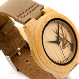 "Wooden Bamboo ""White-Tail Deer"" Collector's Watch w/ Genuine Leather Strap"