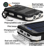 Solar Battery Dual Power-Bank CHARGER for SMARTPHONES - WaterProof w/ Built-in Lights & Compass - Thirsty Buyer - 1