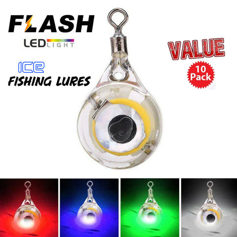 "FLASH Ice Fishing ""Mini"" Teardrop LED Blinking Lures - Value 10 pack"