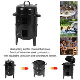 "3-in-1 ""Portable"" Charcoal Outdoor BBQ Smoker, Grill, & Roaster"