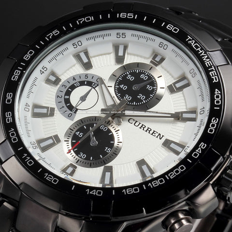 Men's Stainless Steel Luxury Fashion Quartz Watch - Black & White -  - 1