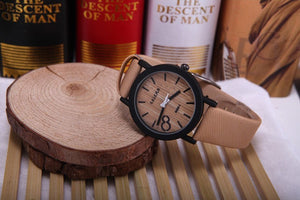 Men's Wooden Grain Face Quartz Watch w/ Leather Strap - Beige - Thirsty Buyer - 1