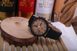 Men's Wooden Grain Face Quartz Watch w/ Leather Strap - Black - Thirsty Buyer - 1