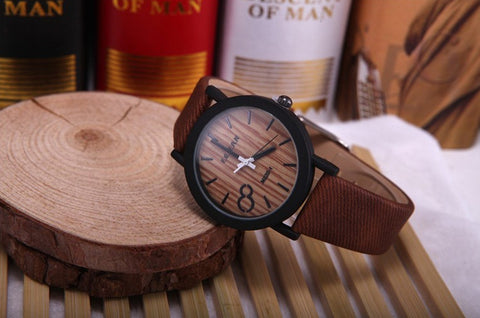 Men's Wooden Grain Face Quartz Watch w/ Leather Strap - Brown - Thirsty Buyer - 1