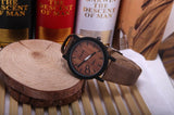 Men's Wooden Grain Face Quartz Watch w/ Leather Strap - Casual Brown - Thirsty Buyer - 1