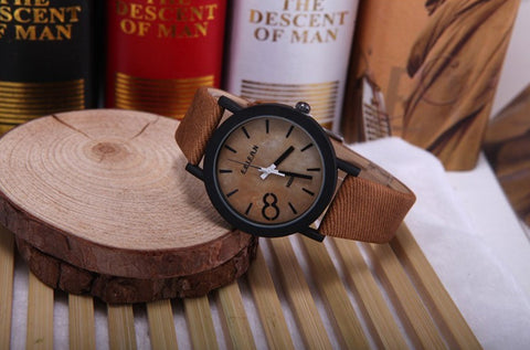 Men's Wooden Grain Face Quartz Watch w/ Leather Strap - Citrus Brown - Thirsty Buyer - 1