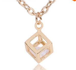Women's Gold CUBE Square Windows w/ Captured Diamond - HOT - Thirsty Buyer