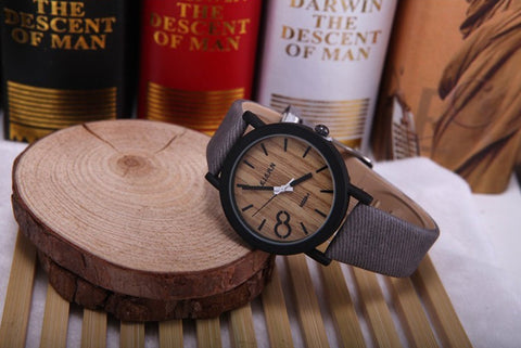 Men's Wooden Grain Face Quartz Watch w/ Leather Strap - Gray - Thirsty Buyer - 1
