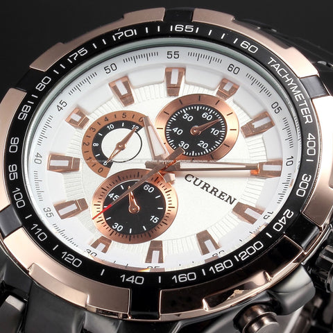 Men's Stainless Steel Luxury Fashion Quartz Watch - Rose Gold & White -  - 1