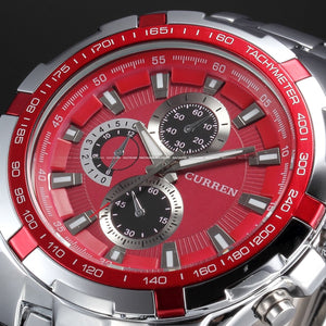 Men's Stainless Steel Luxury Fashion Quartz Watch - Red -  - 1