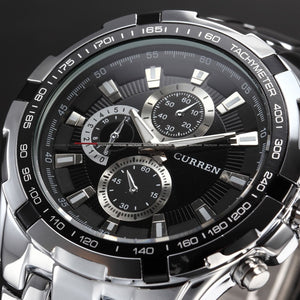Men's Stainless Steel Luxury Fashion Quartz Watch - Silver & Black -  - 1