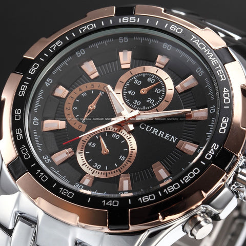 Men's Stainless Steel Luxury Fashion Quartz Watch - Silver & Rose Gold -  - 1