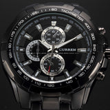 Men's Stainless Steel Luxury Fashion Quartz Watch - Black -  - 1