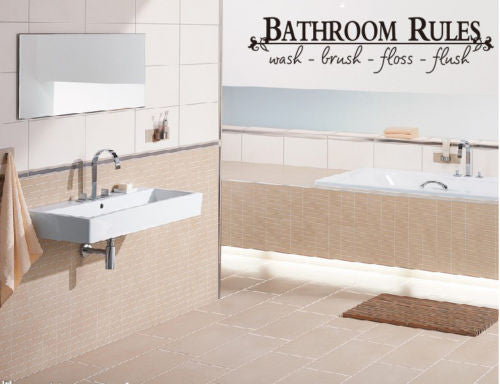 Bathroom Rules Wall Art Vinyl Decal - Thirsty Buyer - 1