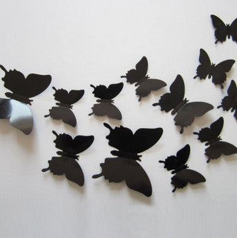 3D Plastic Wall Butterflies Peel & Stick - 12 pieces (Assorted Colors) - Thirsty Buyer - 3