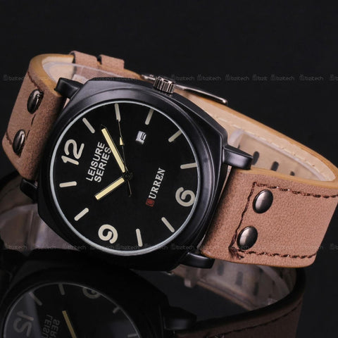 Men's OUTDOORSMAN Survival Leather Strap Quartz Watch - Dark Face w/ Date -  - 1