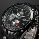 Men's Stainless Steel Stylish Quartz Watch - Black -  - 1