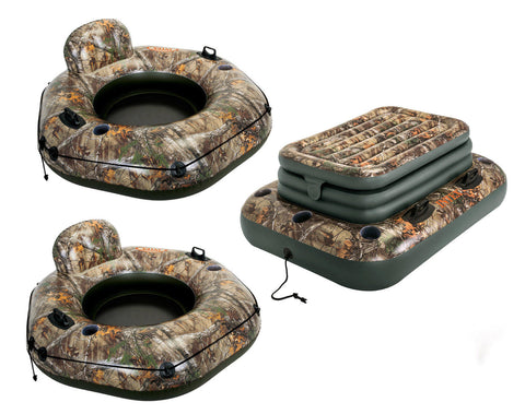 The RIVER RUN Realtree Camo Floating Connecting Raft 2 Pack w/ Bonus Floating Cooler - Thirsty Buyer - 1