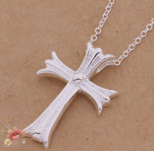 Silver ANGEL Cross Necklace Pendant w/ Chain - Thirsty Buyer - 1