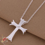 Silver ANGEL Cross Necklace Pendant w/ Chain - Thirsty Buyer - 2