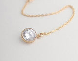 Women's Gold Bar CONNECTOR Round Crystal Pendant Necklace - Thirsty Buyer - 4
