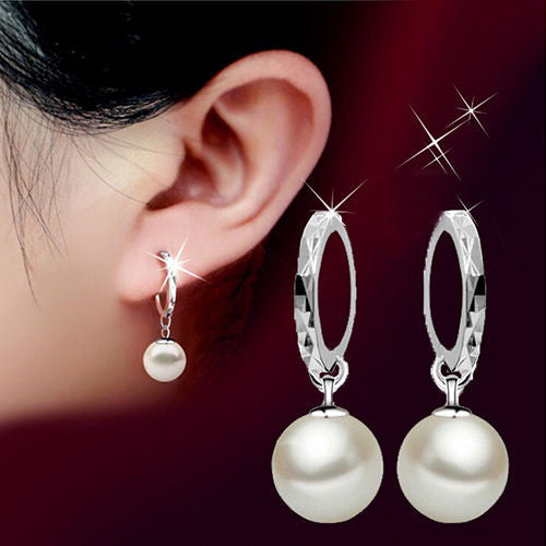 Women's Classic Silver EARDROP Pearl Earrings -  - 1