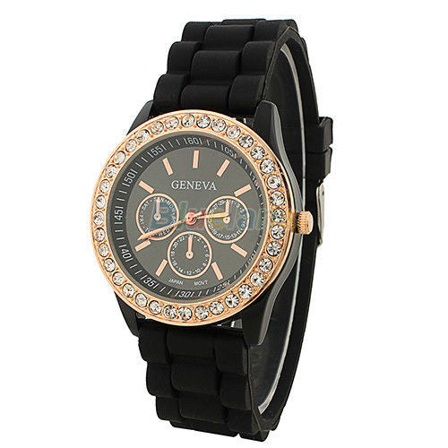 Women's Golden Crystal PARIS Silicone Quartz Watch - Black -