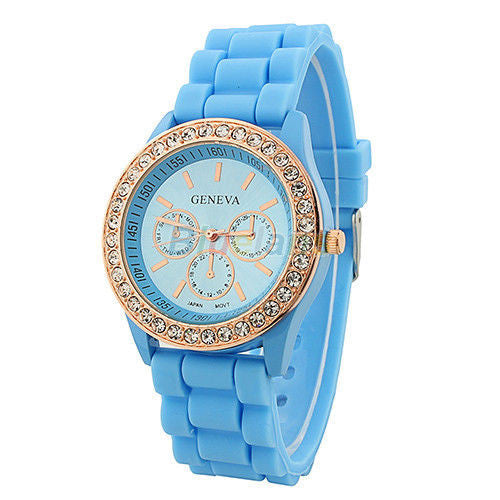 Women's Golden Crystal PARIS Silicone Quartz Watch - Blue -