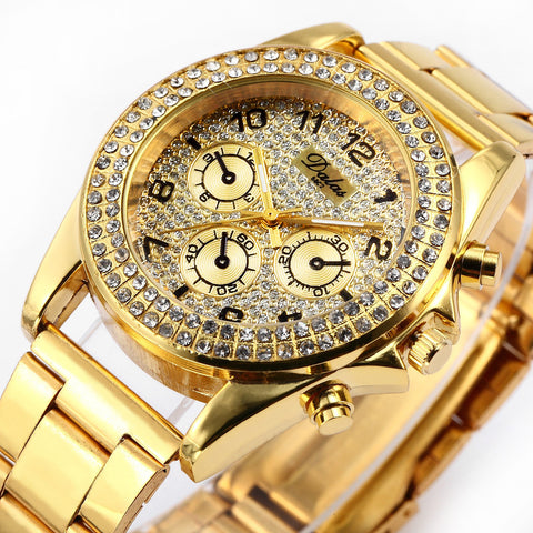 Women's Crystal Gold BLING Quartz Watch -  - 1