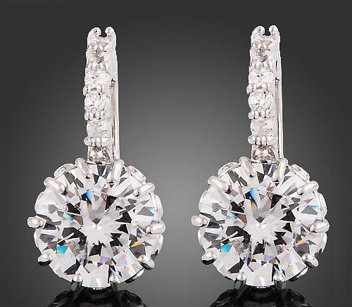 Women's White Gold Crystal GEMS Earrings -  - 1